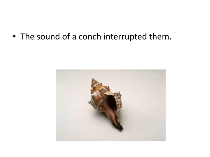 The sound of a conch interrupted them.