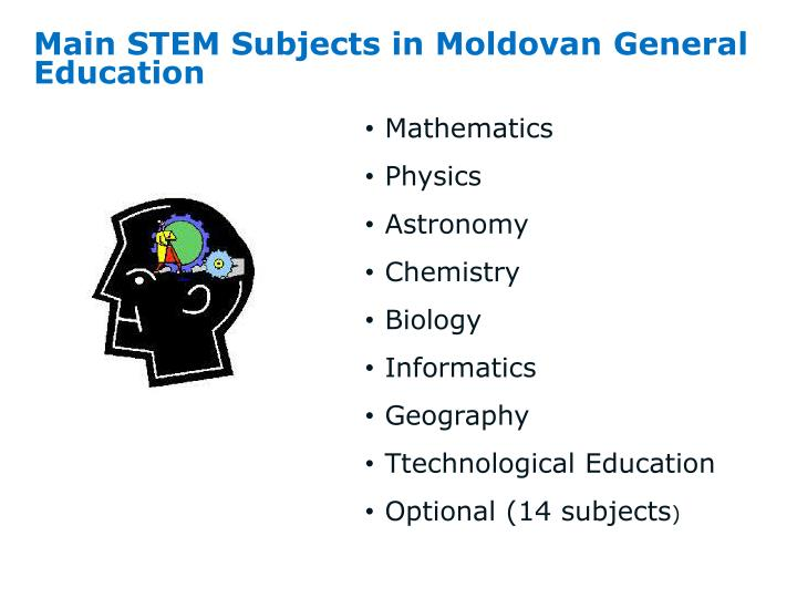 Main stem subjects in moldovan general education
