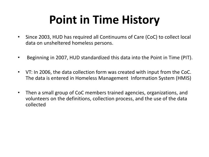 Point in time history