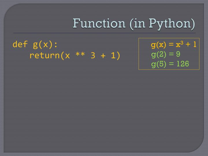 function in python
