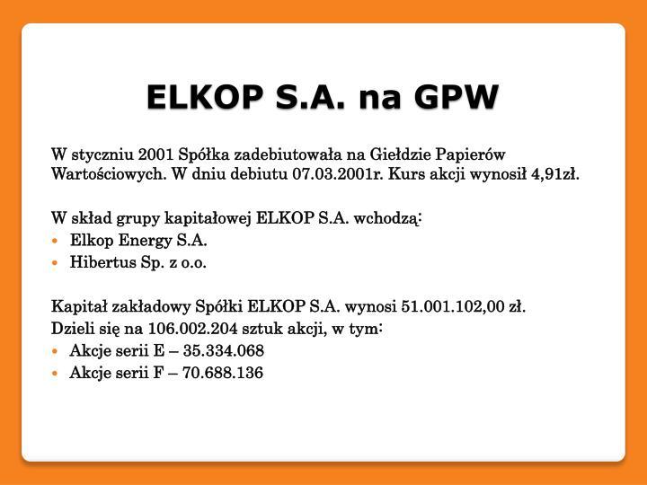 ELKOP S.A. na GPW
