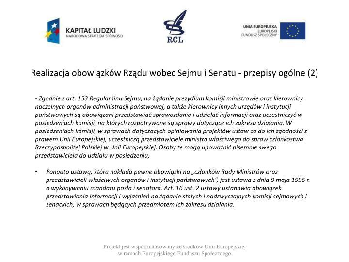Realizacja obowiązków Rządu wobec Sejmu i Senatu