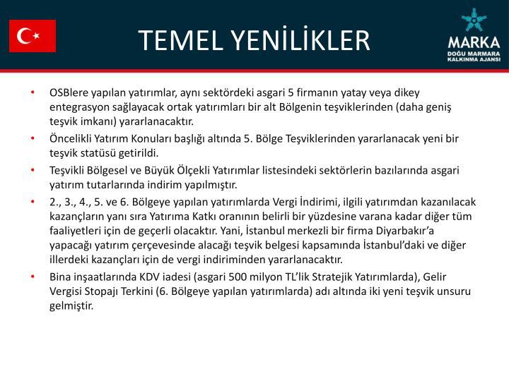 TEMEL YENİLİKLER