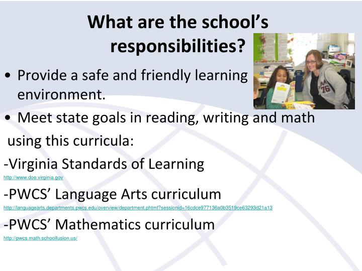 What are the school's responsibilities?