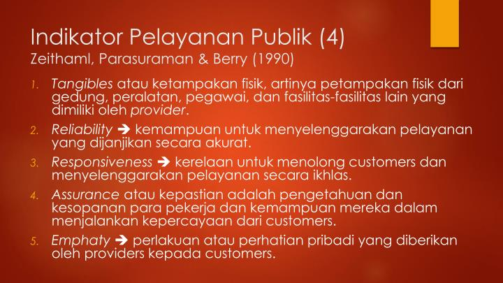 Indikator Pelayanan Publik