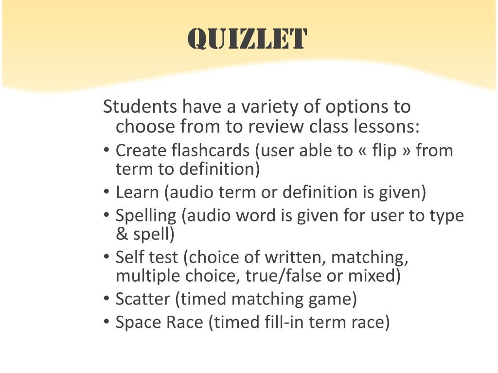 Create A Multiple Choice Test Quizlet