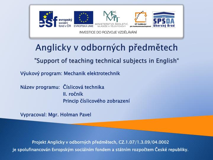 anglicky v odborn ch p edm tech support of teaching technical subjects in english n.