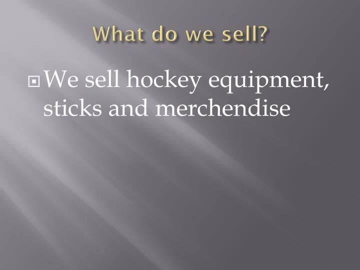 What do we sell?
