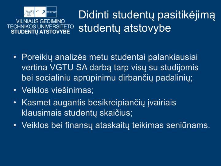 Didinti studentų pasitikėjimą studentų atstovybe