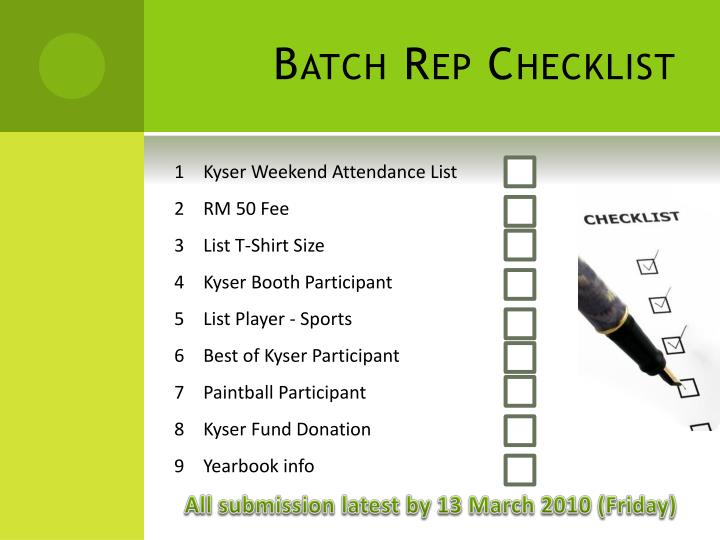 Batch Rep Checklist