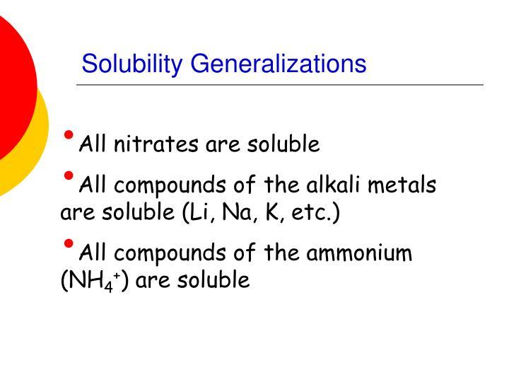 Solubility Generalizations