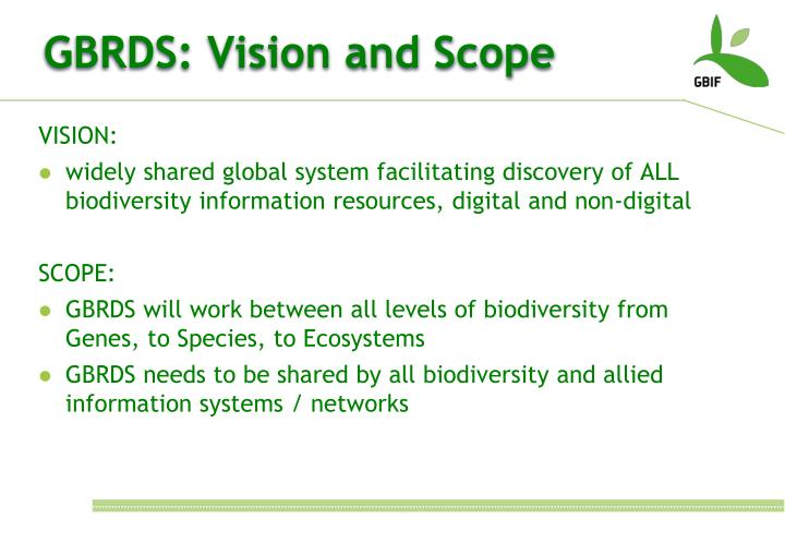 GBRDS: Vision and Scope
