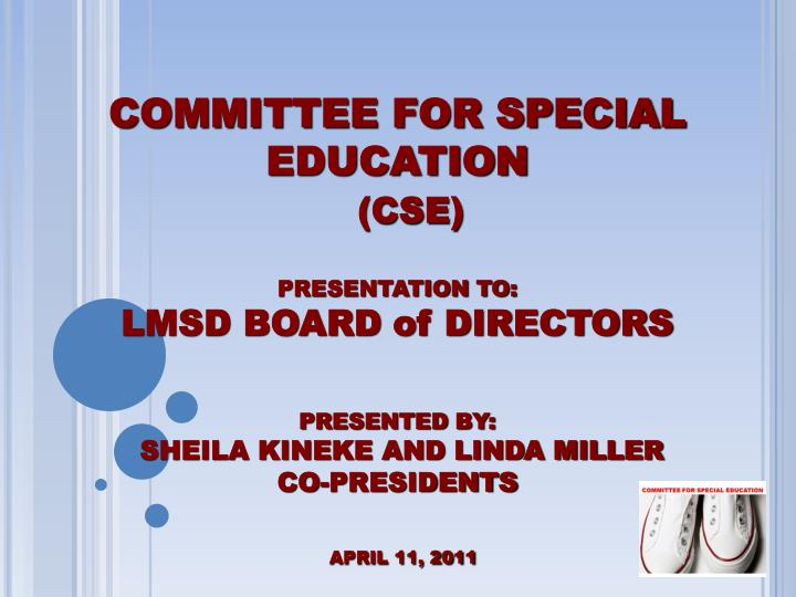 COMMITTEE FOR SPECIAL EDUCATION