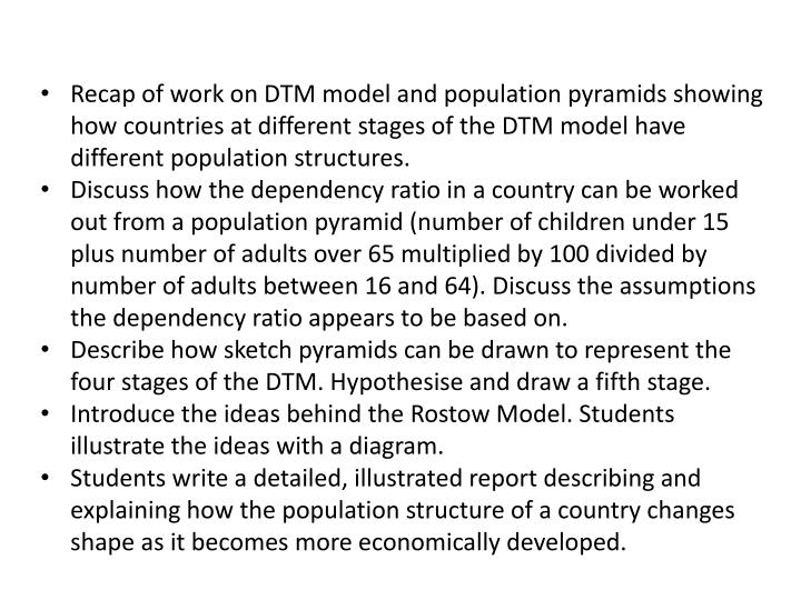 Recap of work on DTM model and population pyramids showing how countries at different stages of the DTM model have different population structures.
