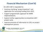 financial mechanism cont d
