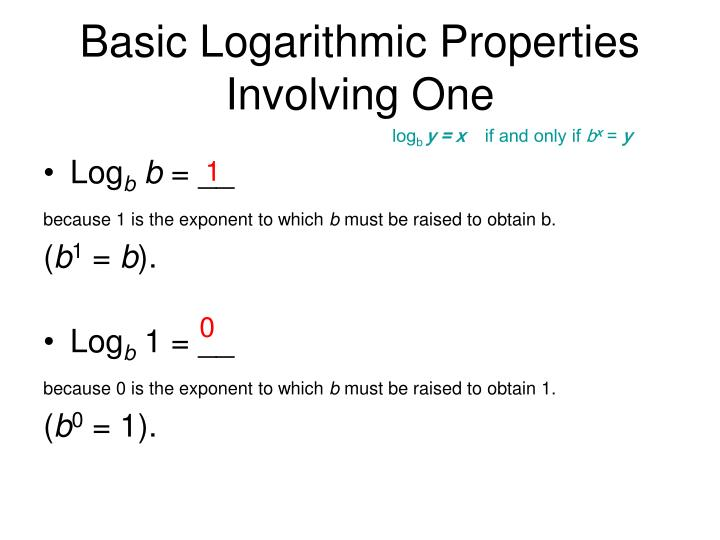 Basic Logarithmic Properties Involving One