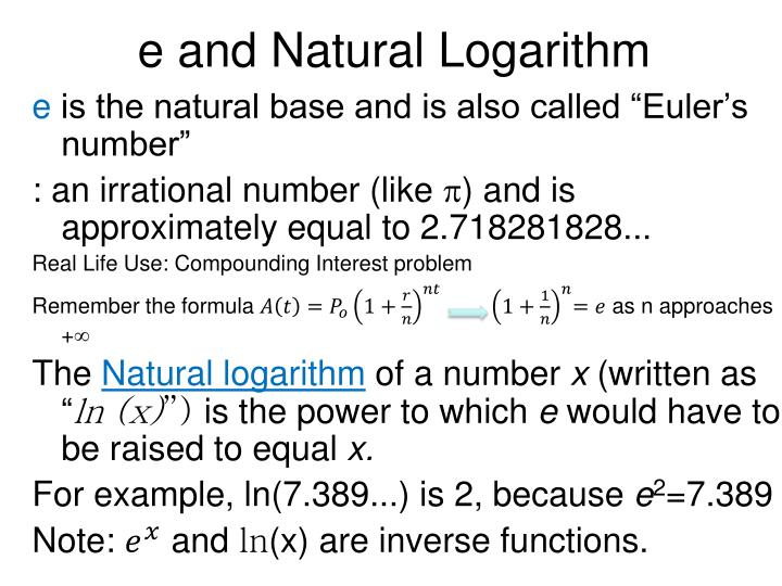 e and Natural Logarithm