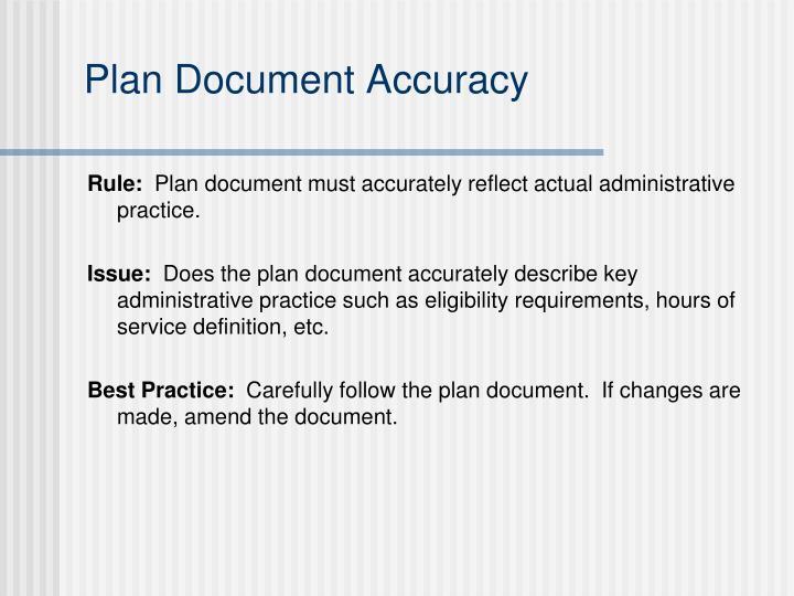 Plan Document Accuracy