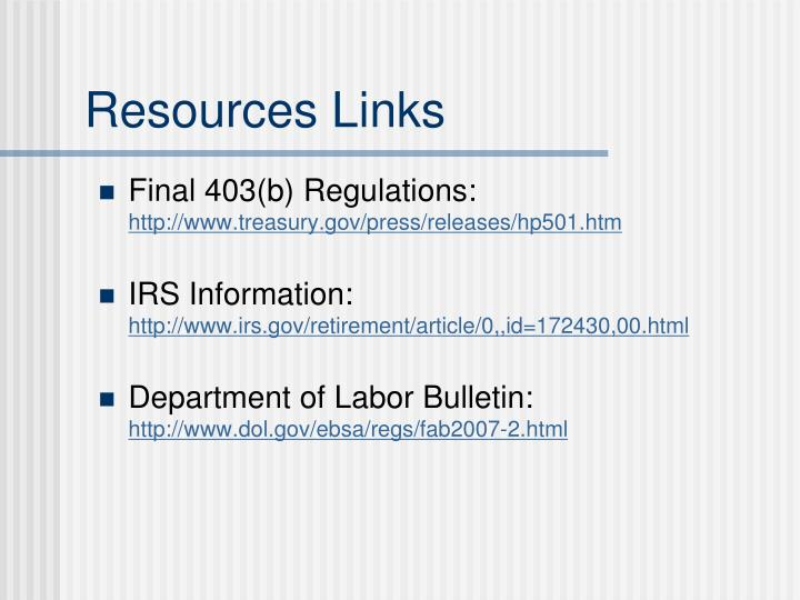 Resources Links