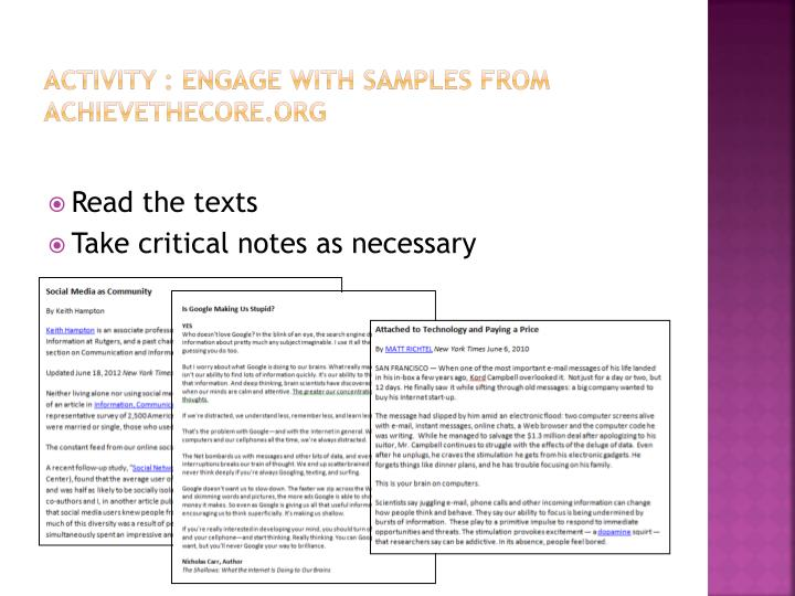 Activity : engage with samples from
