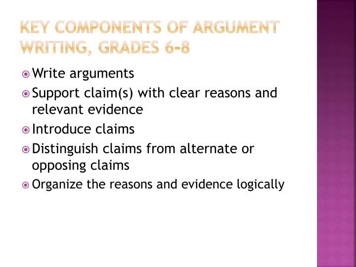 Key Components of argument writing, grades 6-8