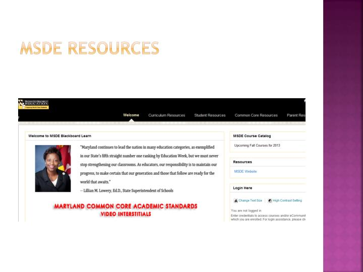 MSDE Resources
