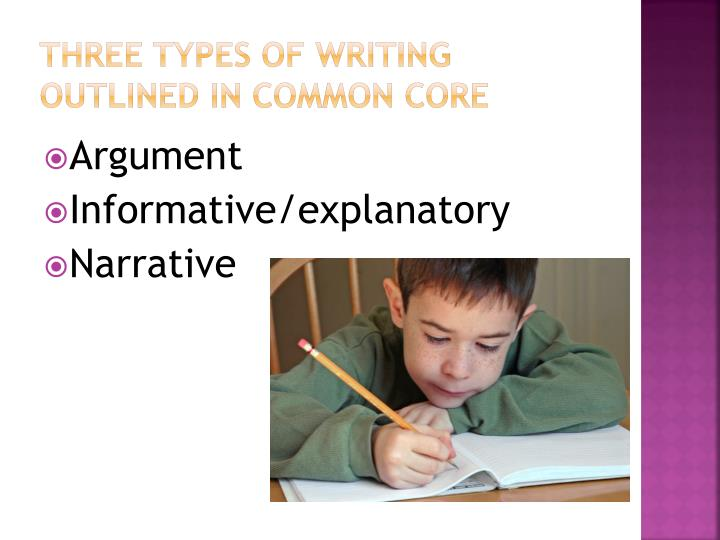 three types of writing outlined in common core