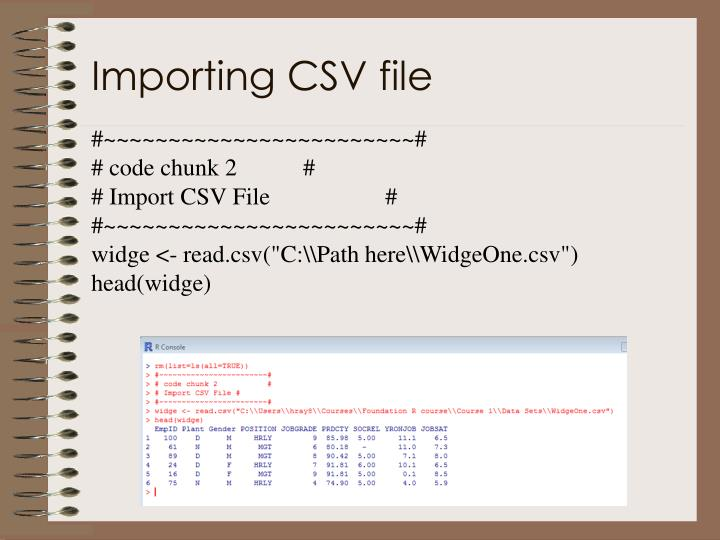 Importing CSV file
