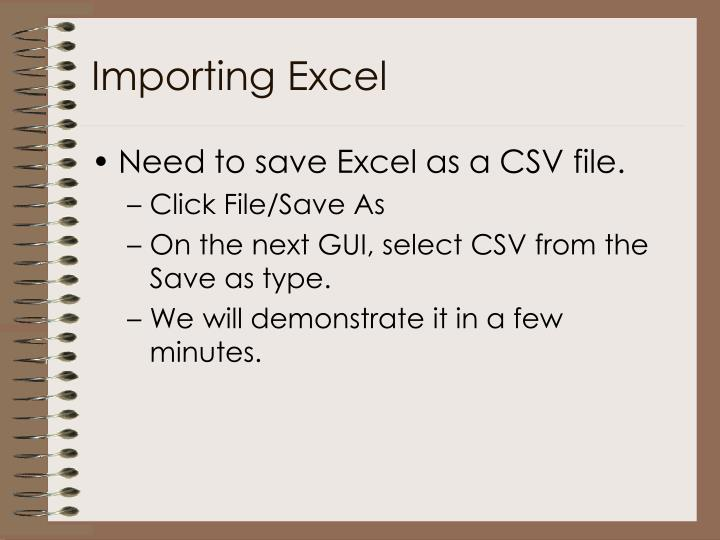 Importing Excel