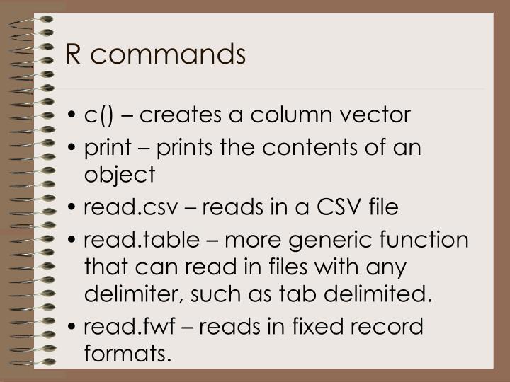 R commands