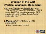 creation of the vad vertical alignment document