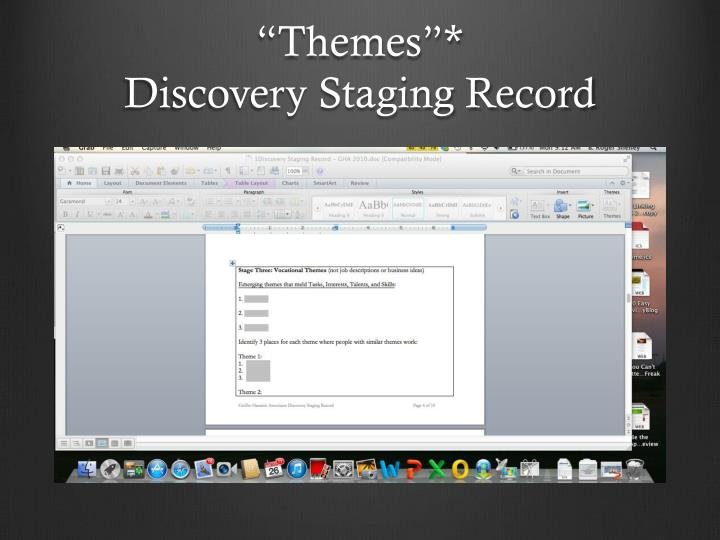 Themes discovery staging record
