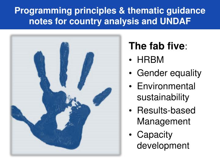 Programming principles & thematic guidance notes for country analysis and UNDAF