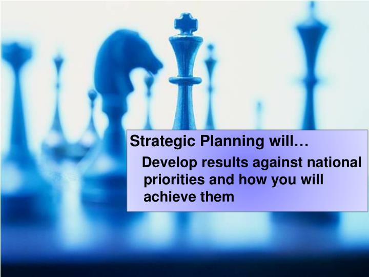 Strategic Planning will…