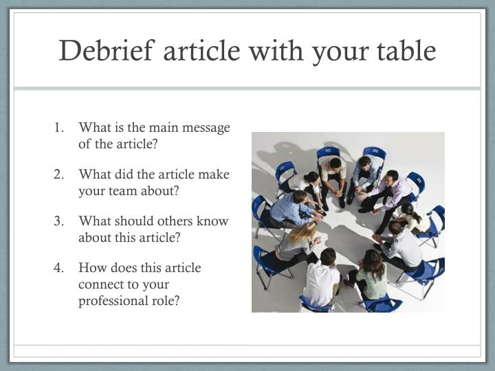 Debrief article with your table
