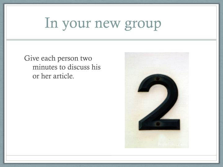 In your new group