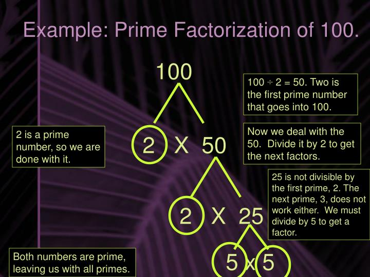 Example: Prime Factorization of 100.