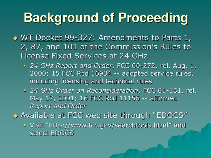 Background of Proceeding