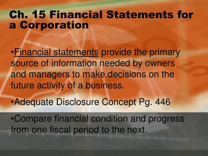 Ch 15 financial statements for a corporation