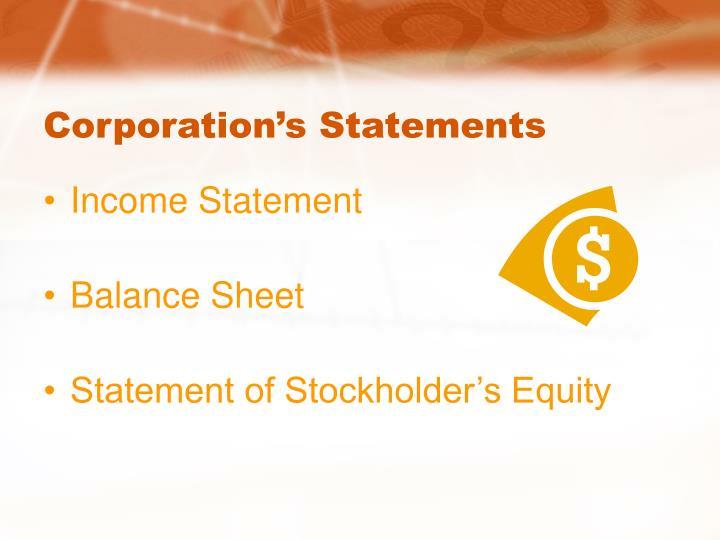 Corporation s statements