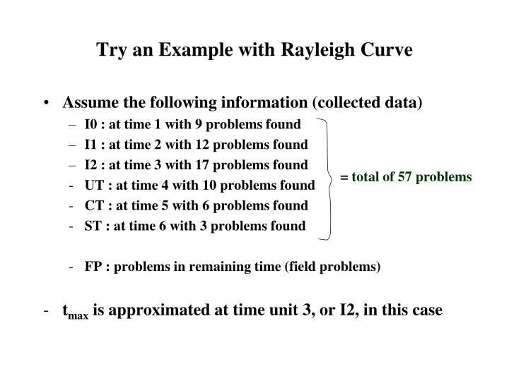 Try an Example with Rayleigh Curve
