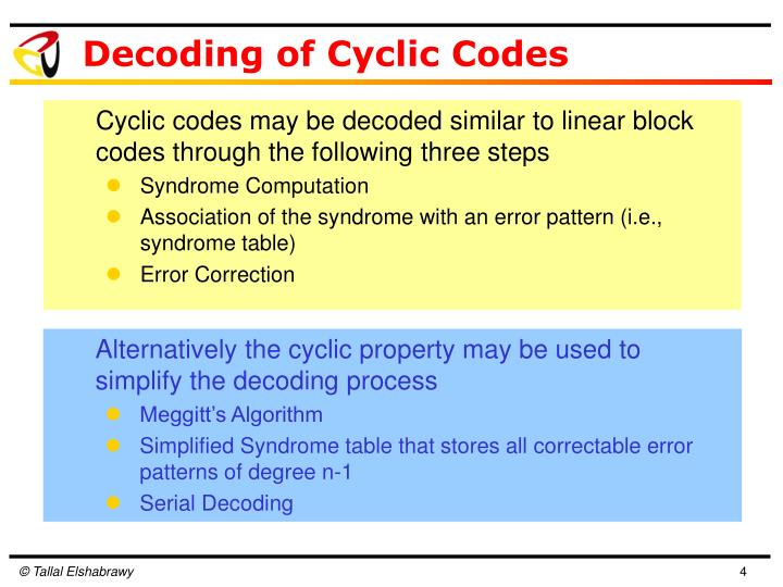 Decoding of Cyclic Codes