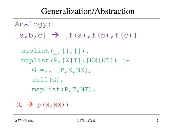 Generalization abstraction