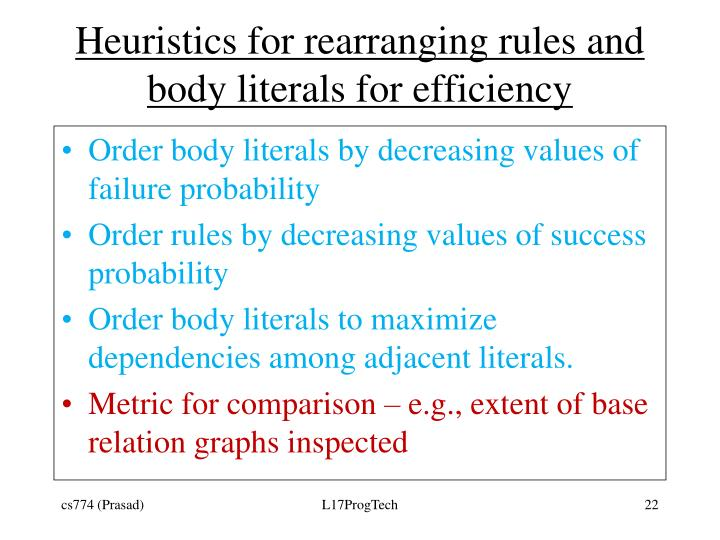 Heuristics for rearranging rules and body literals for efficiency