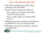 key changes for 2002