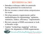 revisions for 2003