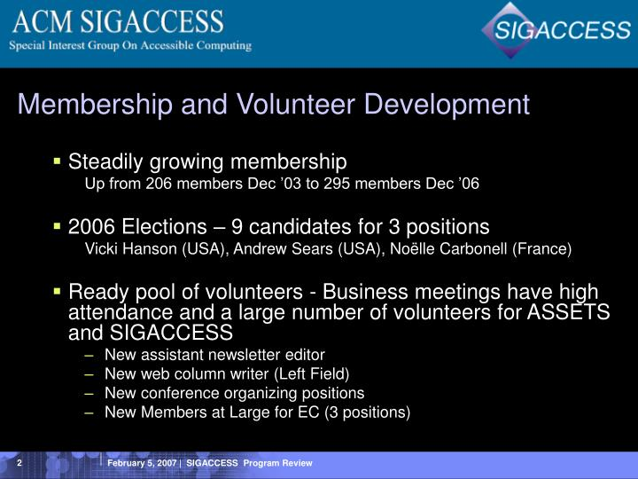 Membership and volunteer development