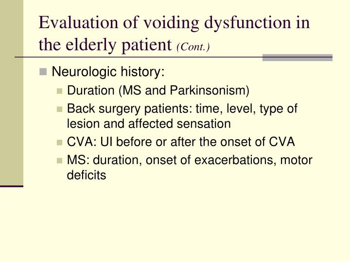 Evaluation of voiding dysfunction in the elderly patient