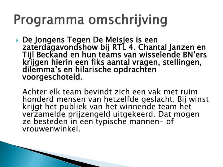 Programma omschrijving
