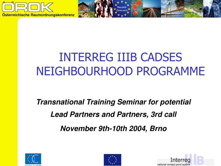 INTERREG IIIB CADSES